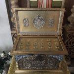 Мощевик с частицами святых мощей угодников Божиих в Иоанно-Богословском Храме г. Коломны